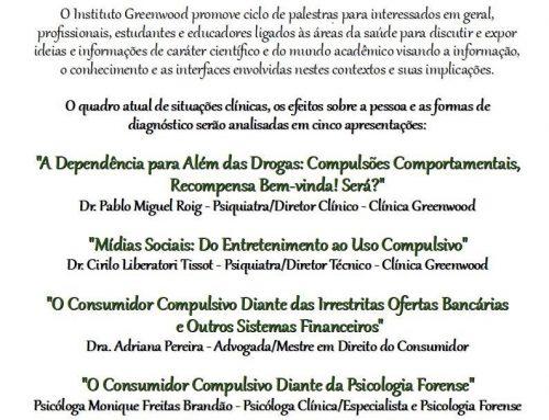 Palestra gratuita sobre compulsões e dependência química