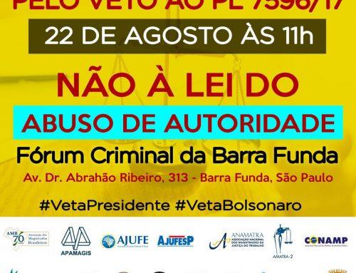 Ato público em SP pelo veto da PL de Abuso de Autoridade